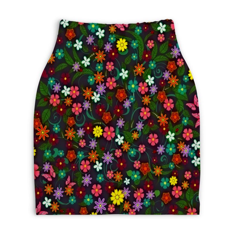 Юбка-карандаш укороченная Printio Весенние цветы printio юбка карандаш укороченная