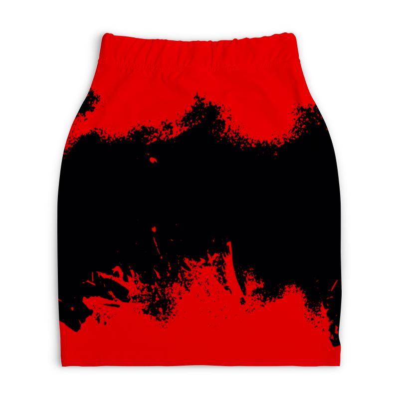 Юбка-карандаш укороченная Printio Черно-красные краски юбка карандаш укороченная printio черно белый орнамент