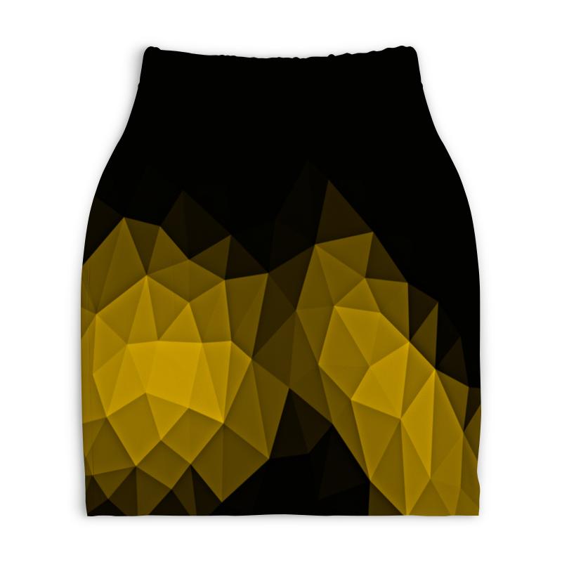 Юбка-карандаш укороченная Printio Черно-желтый юбка карандаш укороченная printio черно белый орнамент
