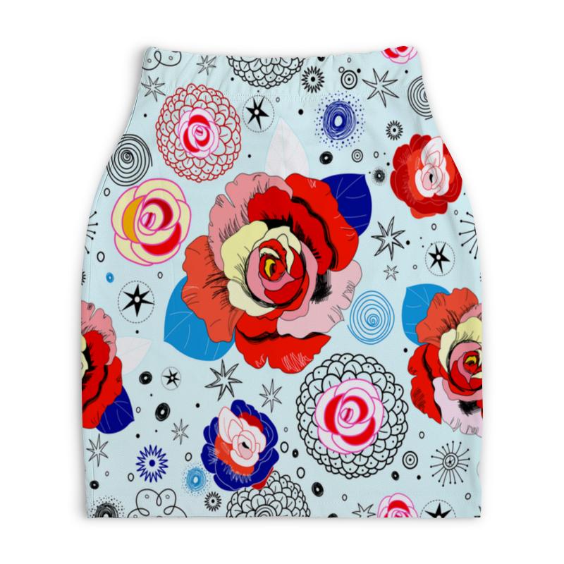 Юбка-карандаш укороченная Printio Цветочки юбка карандаш укороченная printio модерн