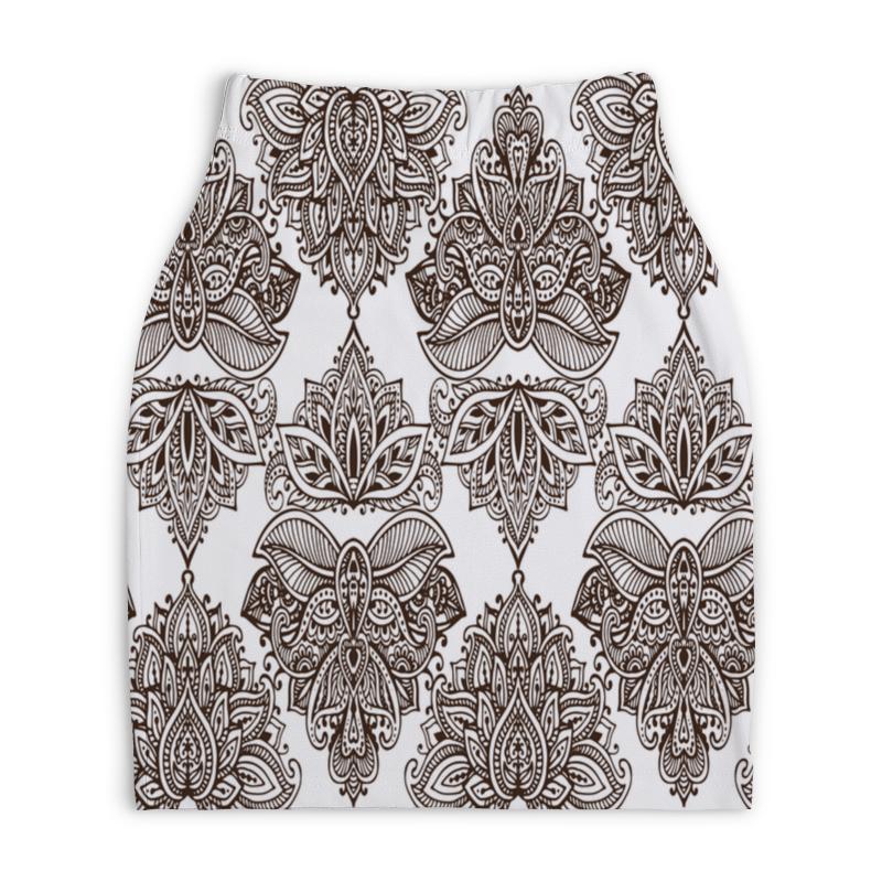 Юбка-карандаш укороченная Printio Черно-белые узоры юбка в складку printio черно белые узоры