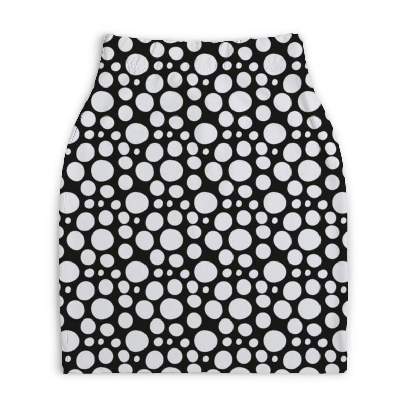 Юбка-карандаш укороченная Printio Белый горошек юбка карандаш укороченная printio белый горох