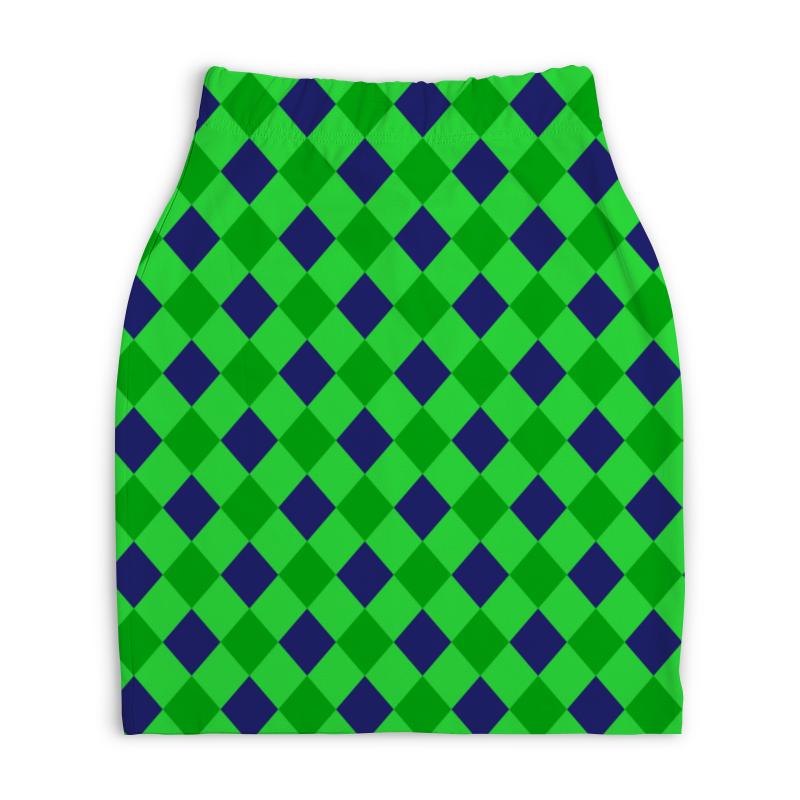 Юбка-карандаш укороченная Printio Сине-зеленые квадраты платье с рукавами printio сине зеленые квадраты
