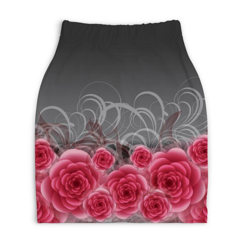 Юбка-карандаш укороченная Printio Красные розы юбка карандаш укороченная printio букеты роз