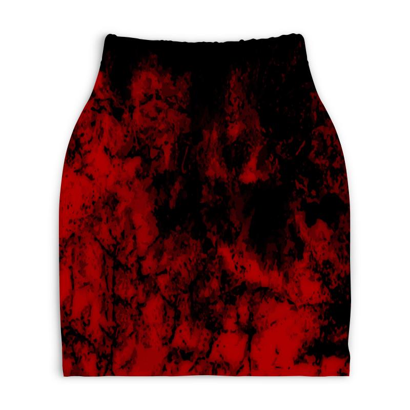 Юбка-карандаш укороченная Printio Черно-красный юбка карандаш укороченная printio черно белый орнамент