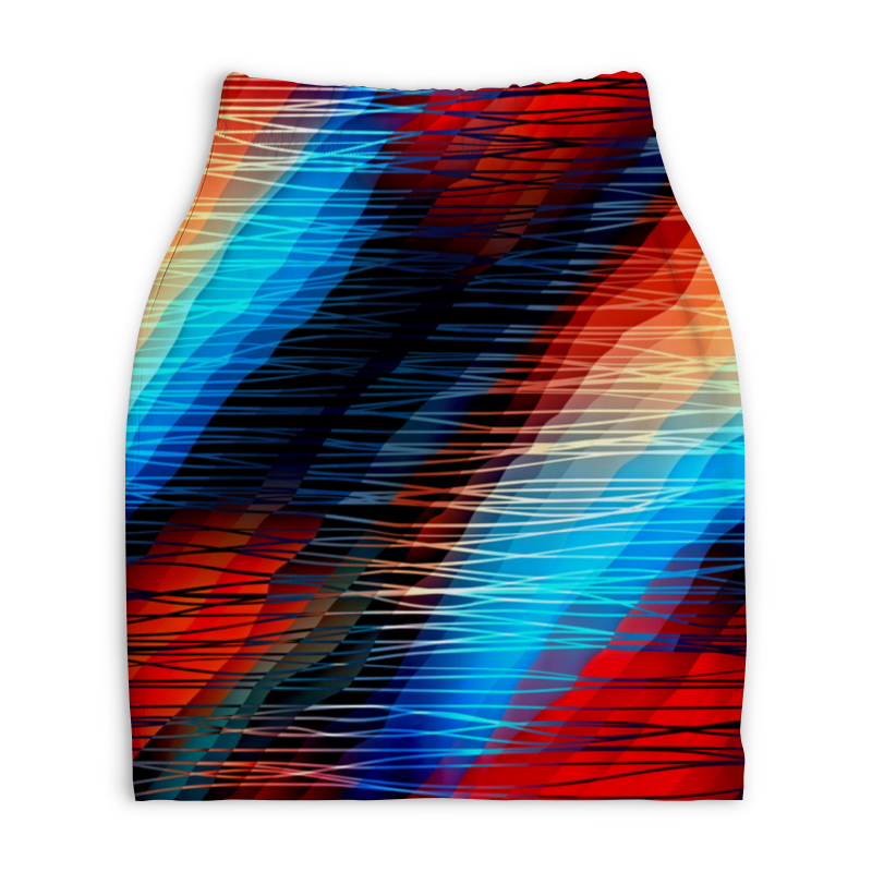 Юбка-карандаш укороченная Printio Цветные текстуры юбка карандаш printio цветные волны