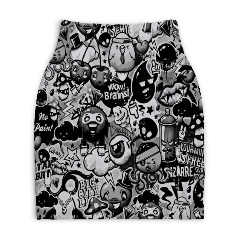 Юбка-карандаш укороченная Printio Мульт черно-белый юбка карандаш укороченная printio белый горох