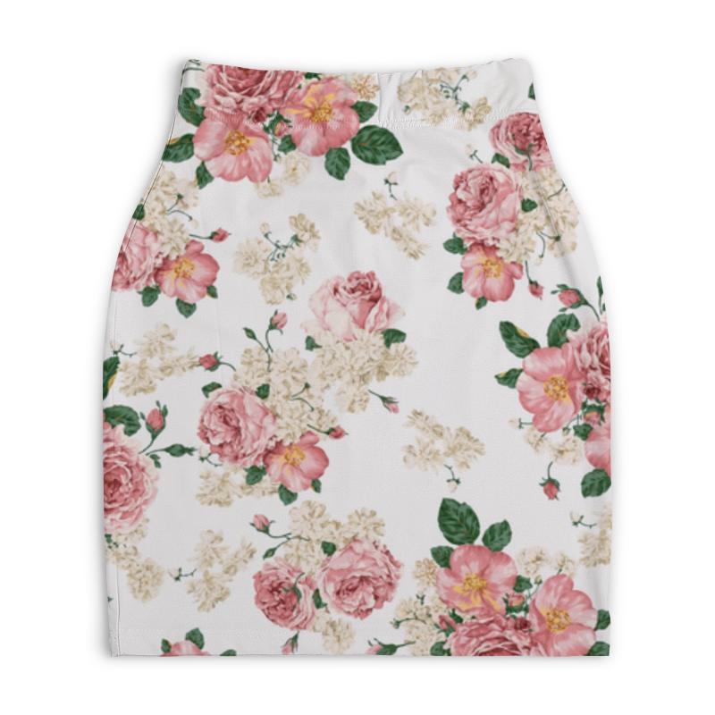 Юбка-карандаш укороченная Printio Цветочный принт юбка карандаш укороченная printio букеты роз