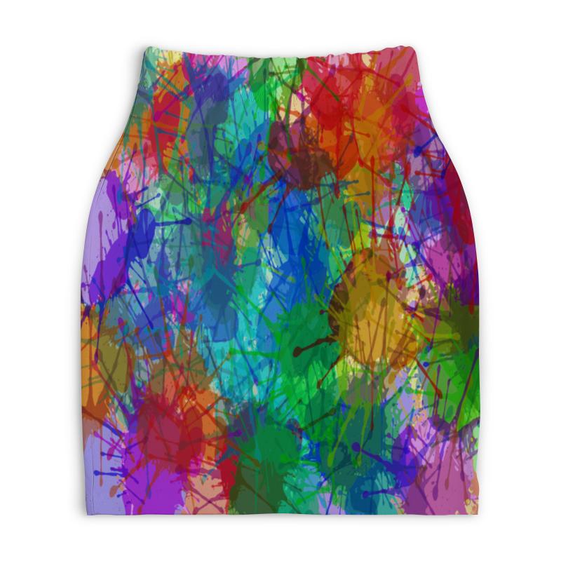Юбка-карандаш укороченная Printio Цветные пятна юбка карандаш printio цветные волны