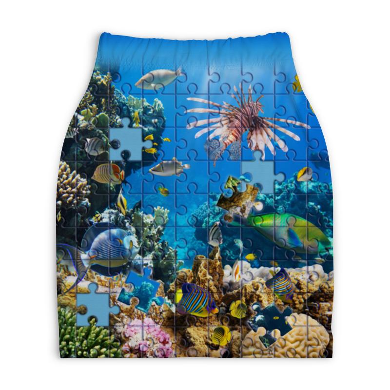 Юбка-карандаш укороченная Printio Морские рыбки паззл аквариумные рыбки в ейске