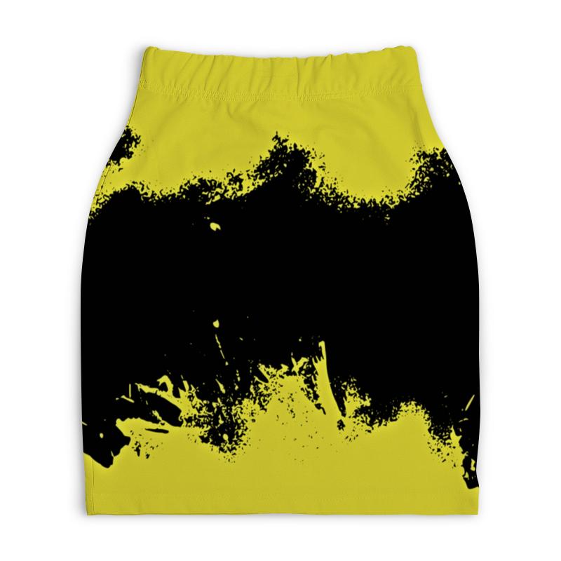 Юбка-карандаш укороченная Printio Черно-желтые краски юбка карандаш укороченная printio черно белый орнамент