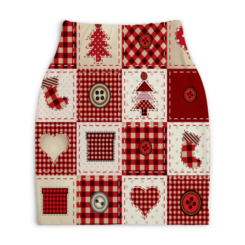 Юбка-карандаш укороченная Printio Новогодний узор юбка карандаш укороченная printio новогодний орнамент