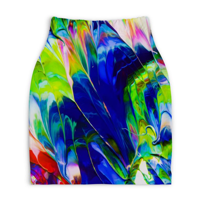 Юбка-карандаш укороченная Printio Переливы красок юбка карандаш укороченная printio смесь красок