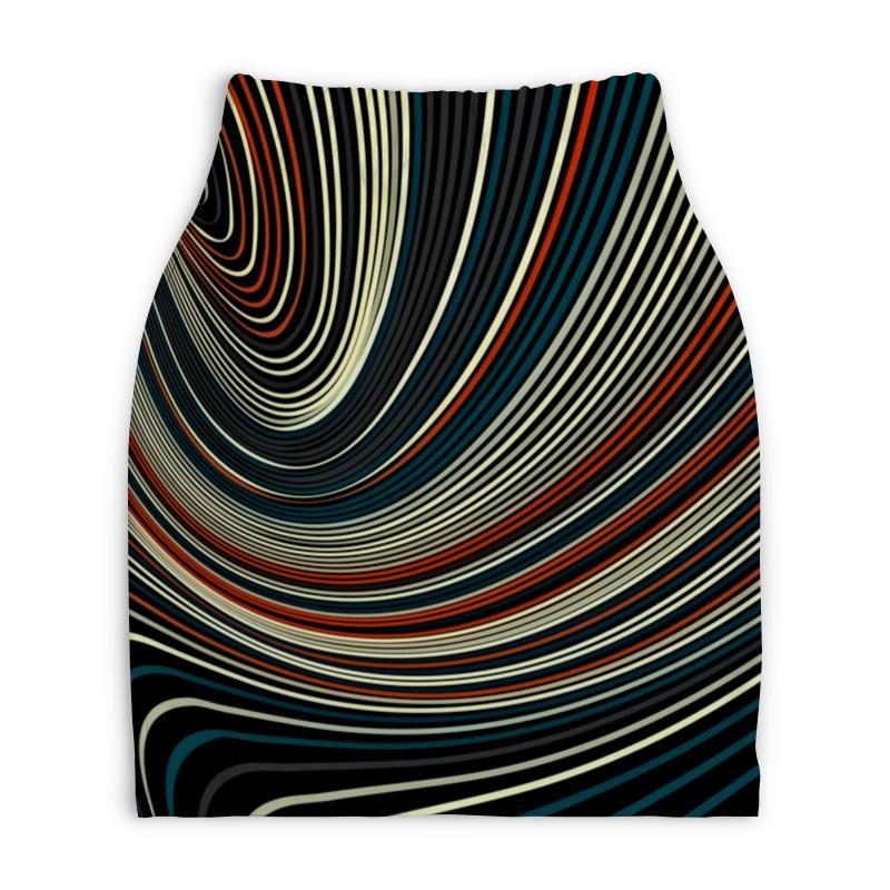 Юбка-карандаш укороченная Printio Линии цветные юбка карандаш printio цветные волны