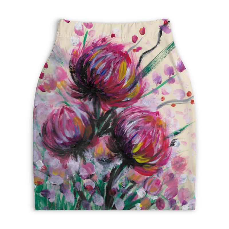 Юбка-карандаш укороченная Printio Розовые хризантемы юбка карандаш укороченная printio живопись