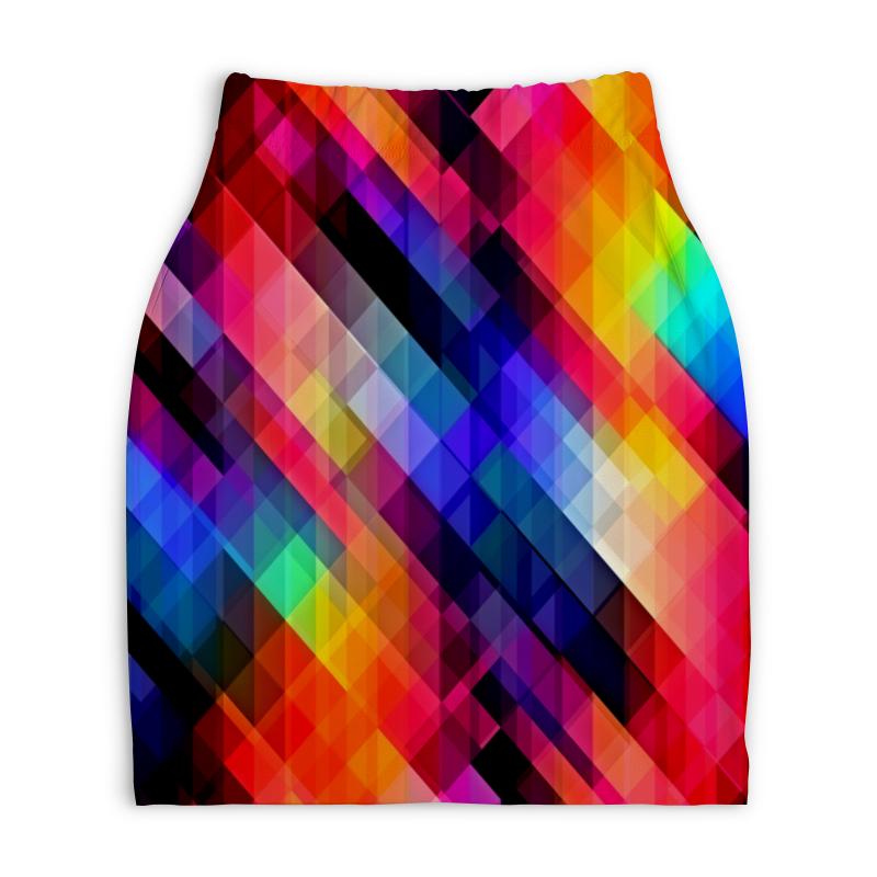 Юбка-карандаш укороченная Printio Цветные узоры юбка карандаш printio цветные волны
