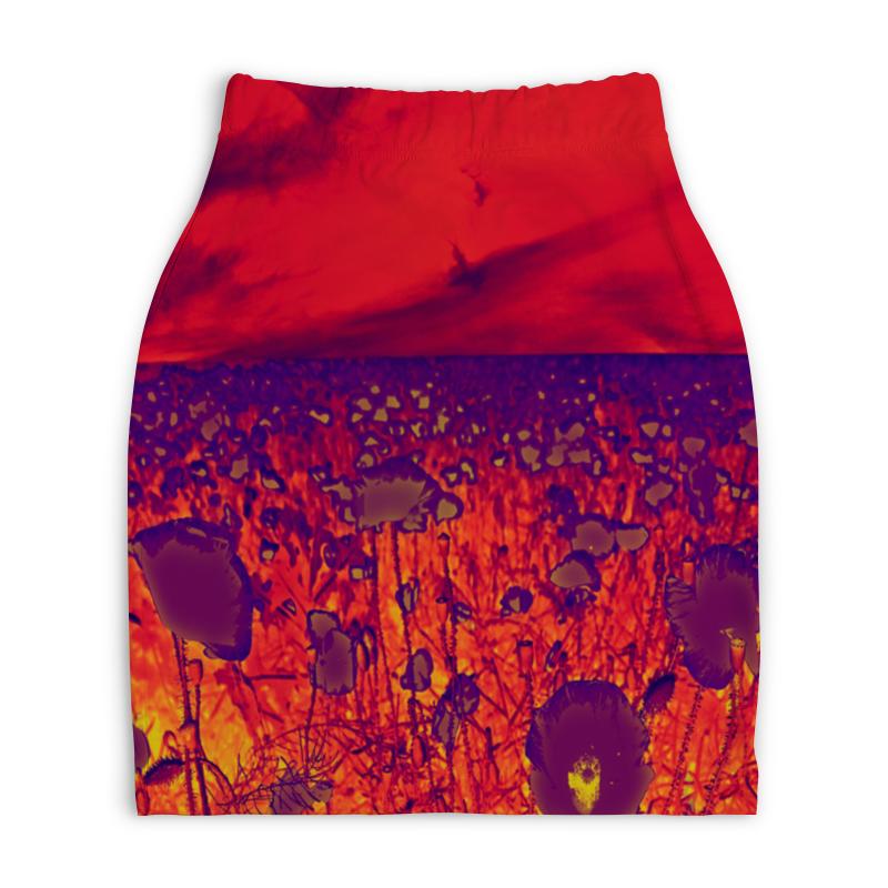 Юбка-карандаш укороченная Printio Цветки мака printio юбка карандаш укороченная