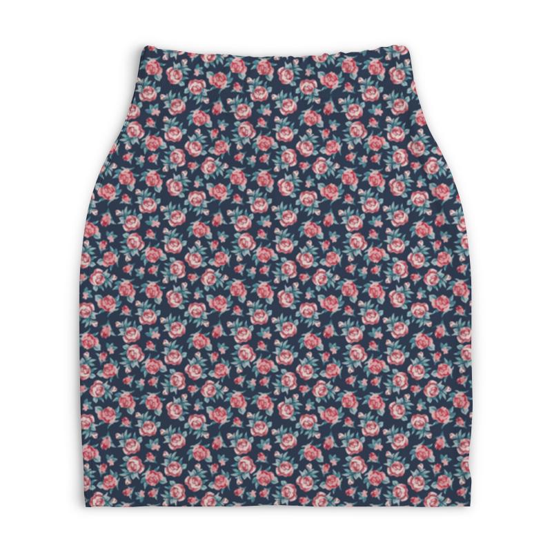 Юбка-карандаш укороченная Printio Цветы printio юбка карандаш укороченная