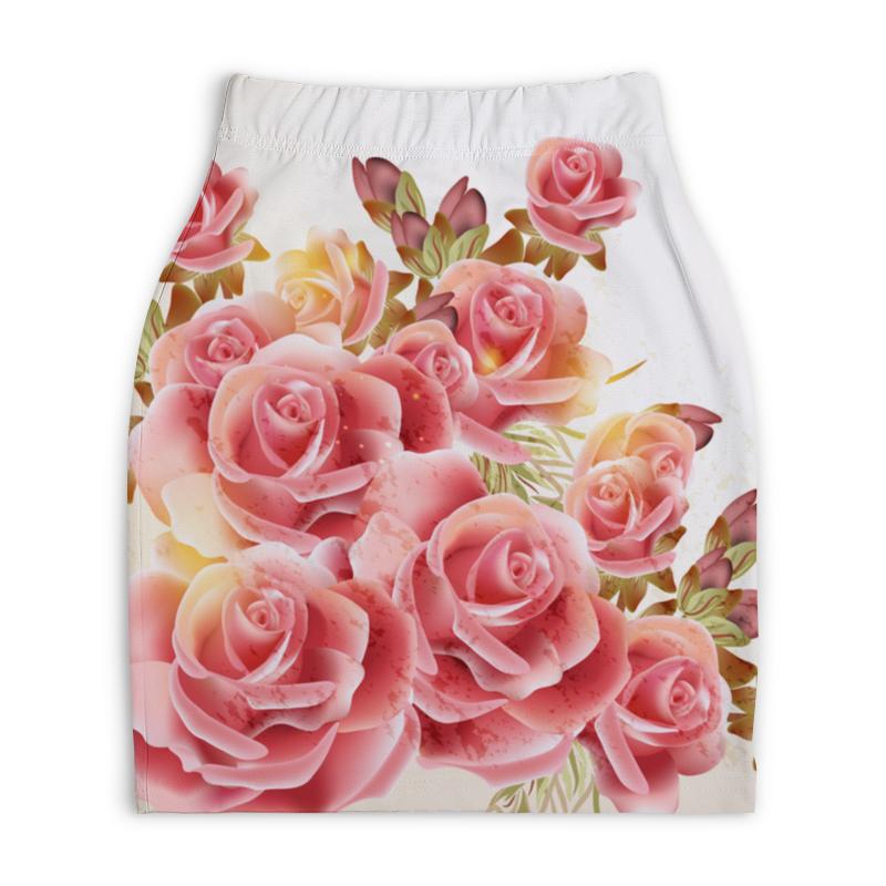 Юбка-карандаш укороченная Printio Букет роз