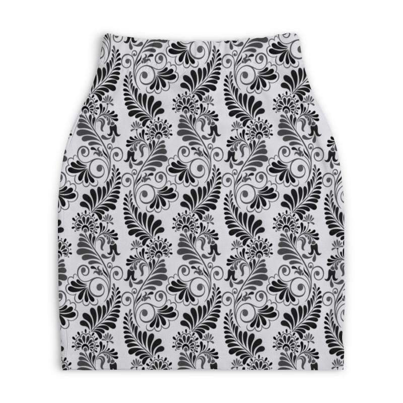 Юбка-карандаш укороченная Printio Черно белая роспись printio юбка карандаш укороченная