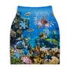 """Юбка-карандаш укороченная """"Морские рыбки Паззл"""" - морской пейзаж, морское дно, морской паззл, морские рыбки паззл, цветные рыбки"""