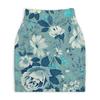 """Юбка-карандаш укороченная """"Цветы. Акварель"""" - цветы, лист, роза, синий, акварель"""