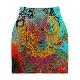 "Юбка-карандаш укороченная ""Шейный платок"" - девушка, фигура, галстук, краски, рубашка"