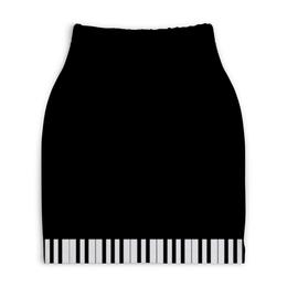 """Юбка-карандаш укороченная """"Пианино"""" - музыка, пианино"""