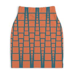 """Юбка-карандаш укороченная """"Квадраты"""" - треугольник, рыжий, синий, квадрат, размер"""