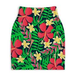 """Юбка-карандаш укороченная """"Тропические цветы"""" - цветочки, листья, природа, цветы, тропики"""