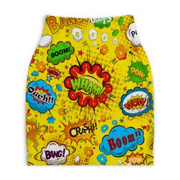 """Юбка-карандаш укороченная """"Retro boom"""" - поп арт, надписи, boom, bang, pop art"""