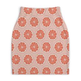 """Юбка-карандаш укороченная """"Апельсины"""" - фрукты, апельсин, лето, узор, ягоды"""