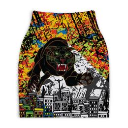 """Юбка-карандаш укороченная """"Черный Тигр"""" - кот, граффити, черный, тигр, урбанистический"""