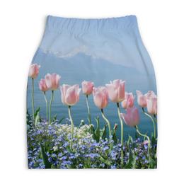 """Юбка-карандаш укороченная """"тюльпаны"""" - цветы, природа, тюльпаны, поле цветов"""