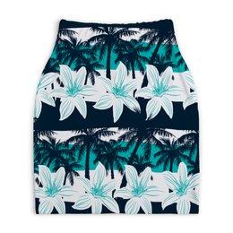 """Юбка-карандаш укороченная """"Тропические цветы"""" - цветочки, пальмы, природа, цветы, тропики"""