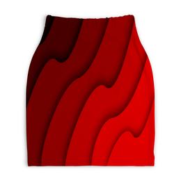 """Юбка-карандаш укороченная """"Красные волны"""" - красный, полосы, волны, текстура, линии"""