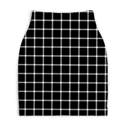 """Юбка-карандаш укороченная """"Чёрная клетка"""" - иллюзия, оптика, чёрная клетка"""
