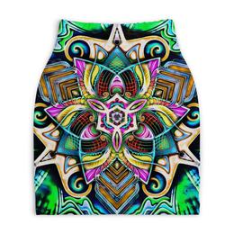 """Юбка-карандаш укороченная """"Mandala HD 4"""" - узор, ретро, классика, этно, симметрия"""