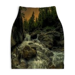 """Юбка-карандаш укороченная """"Природа"""" - весна, лес, природа, река, озеро"""