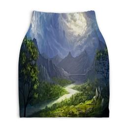 """Юбка-карандаш укороченная """"Пейзаж красками"""" - природа, лес, река, пейзаж, горы"""