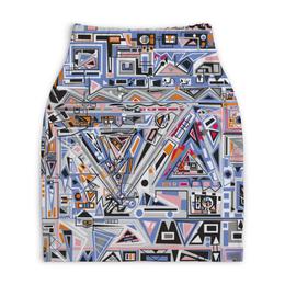 "Юбка-карандаш укороченная ""Ташизм"" - арт, узор, синий, абстракция, фигуры"