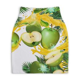 """Юбка-карандаш укороченная """"Яблоки"""" - рисунок, яблоки фрукты"""