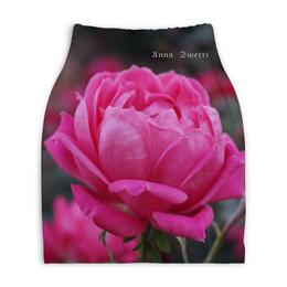 """Юбка-карандаш укороченная """"Anna Siverri"""" - цветок, розовый, нежность, любовь"""