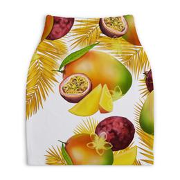 """Юбка-карандаш укороченная """"Тропические фрукты"""" - фрукты, рисунок, тропики, папайя, маракуйя"""