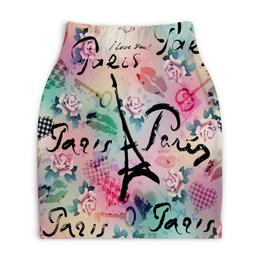 """Юбка-карандаш укороченная """"Париж"""" - париж, города, paris, цветы, я люблю"""
