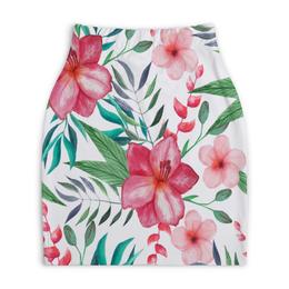 """Юбка-карандаш укороченная """"Цветы"""" - цветы, лес, природа, тропики, листья"""