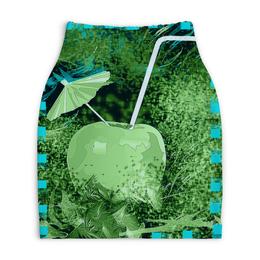 """Юбка-карандаш укороченная """"Яблочный микс"""" - яблоко, фрукт, абстракция, напиток, натюрморт"""