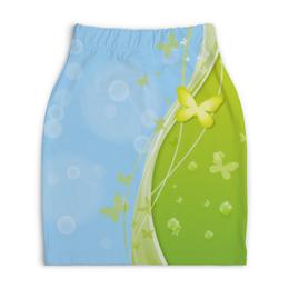 """Юбка-карандаш укороченная """"Летний мотив"""" - бабочки, лето, небо, трава, мыльные пузыри"""