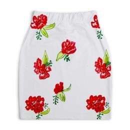 """Юбка-карандаш укороченная """"Юбка-карандаш Красные цветы"""" - лето, розы, маки, цветы"""