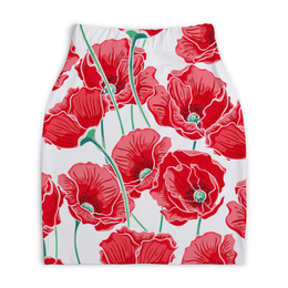 """Юбка-карандаш укороченная """"Красные маки"""" - цветы, ярко, природа, маки, красивые цветы"""